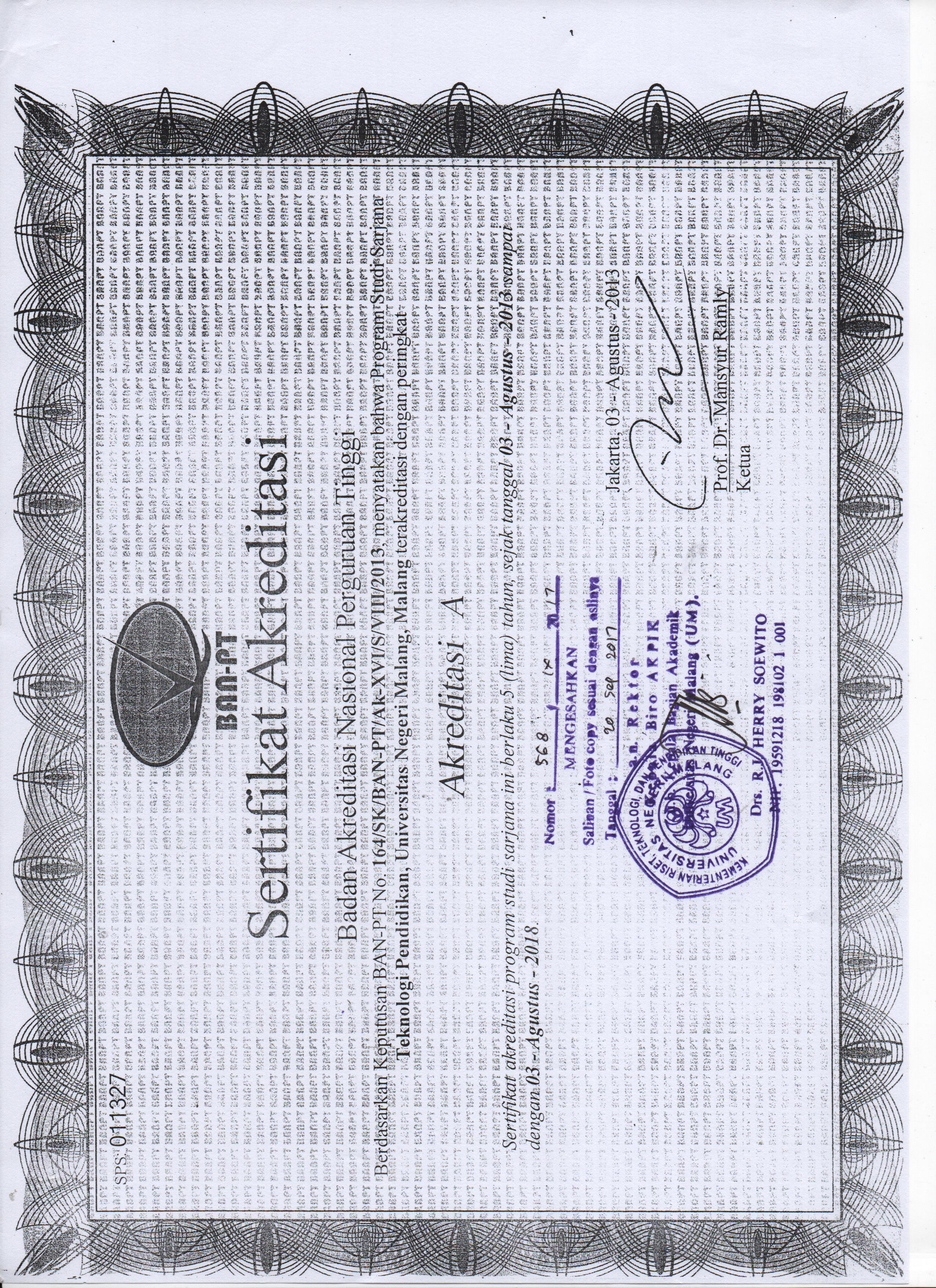 Sertifikat Akreditasi Prodi S1 TEP FIP UM